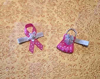 Set of Breast Cancer awareness ribbon sculpture hairbow