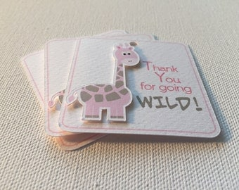 Baby Shower Favor Tags, 12 Pack, Pink, Giraffe, Shower Tags, Gender Reveal Tags, Customized, Personalized, Dimensional TPG910