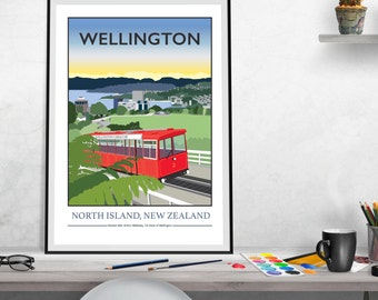 Wellington Cable Car New Zealand, Giclee Print
