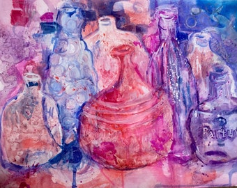 "Semi Abstract Water Color Painting, Large Wall Art, ""Bottles,"" 18"" x  24"", Art for Sale, Midcentury Modern Art - Inspired by Morandi"