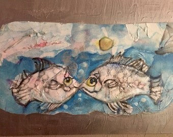 "ORIGINAL Water Color Painting - ""Kissing Fish"" - Nautical Watercolor Painting Mounted on Birch Wood Cradle - 12"" x 24"""