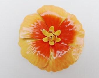 Enamel Orange Poppy Pin, Orange Floral Brooch, Orange Flower Pin, Orange Floral Pin, Orange Flower Brooch, Mid Century 1950s 50s Flower Pin