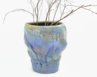 Crystal glazed blue vase altered