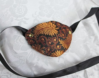 Bronze Brocade Eye Patch, Bronze and Black Silk Brocade Pirate Eye Patch, Pirate Costume Accessory