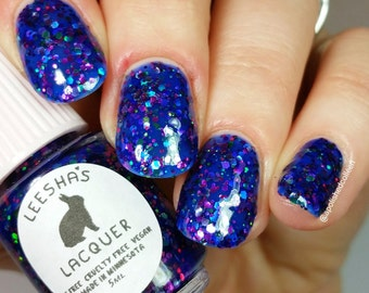 Blue Jelly Nail Polish, Glitter Nail Polish - Supernova - Jelly's from Outer Space Collection