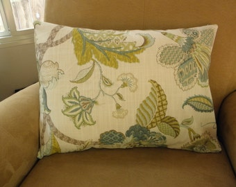 Large Scale Floral and Leaf Design Linen Pillow Cover 16x20