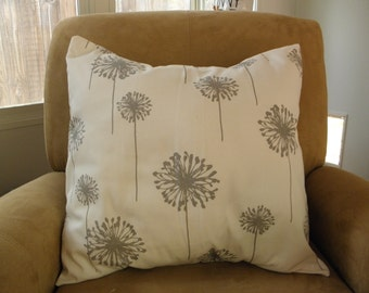 A Beautiful Gray Dandelions on a White Linen Pillow Cover 20x20