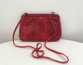 Vintage Red Snake Skin Leather Crossbody Bag 1980s Clutch Small Purse by Clemente 80s