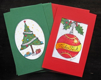 Set 12: Greeting Cards Set of 2 - Christmas/Holiday Cards - hand-drawn