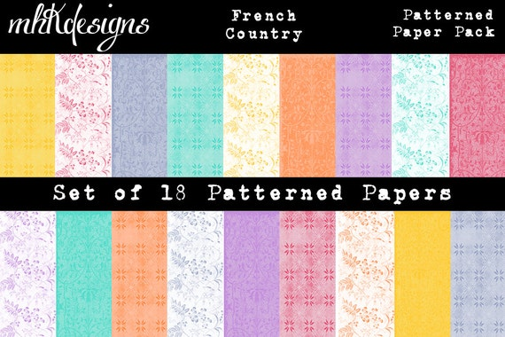French Country Digital Paper Pack