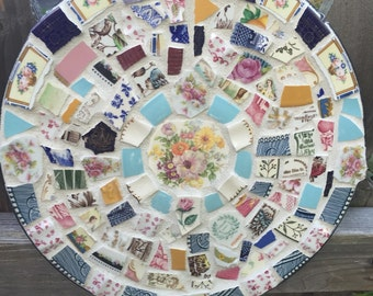 Vintage Broken China Mosaic Wall Hanging - Garden Decor - 100% Recycled - FREE SHIPPING