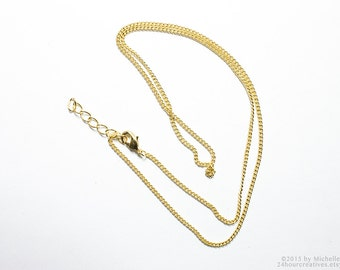 "24"" Gold Plated Chain - 1.5mm Curb Chain - Economical Plated Gold Chain - Complete Necklace Chain with Clasp - PACK of 2 PCS - Ships FAST"