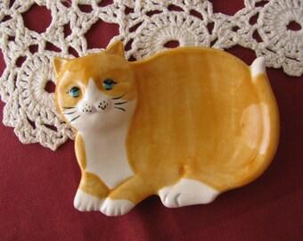 Orange and White Cat Ceramic Teabag Holder, Spoon Rest or Trinket Dish