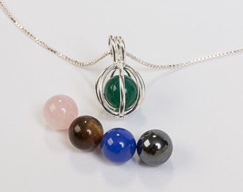 Sterling silver bead cage necklace with chain