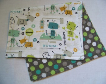 Robot and Dots Burp Cloths, Snuggle Flannel Burp Cloths, Reversible Burp Cloth