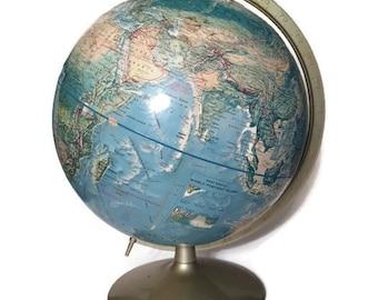 Vintage Globe Mid Century World Globe Rand McNally Silver Axis Industrial Age Meets Modern Retro Wanderlust Traveler Globe Nursery Decor