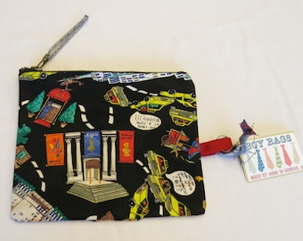 NYC Theme Men Tie Zipper Travel Bag  / 100% Silk / Great Gift for Him / Father's Day/ 017