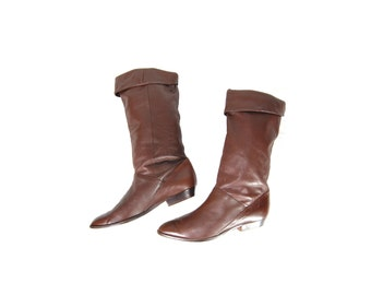 Size 7.5 Brown Leather Mid Calf Boots by Mister Shoes // Brown Leather Foldover Boots // G439