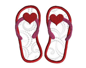 Flip Flops With Hearts Applique, Machine embroidery design, 3 sizes, Valentine's Day Design