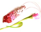 Ombre Spring Necktie Necklace, OOAK, floral jewelry necktie, appliqued necktie, gift for woman, gift for her, teenage accessory, pink, red