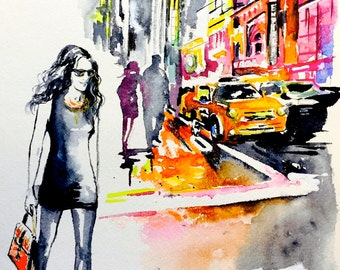 New York City Inspired Watercolor Painting by Lana Moes - Art Contemporary Home Decor - Romantic Wanderlust