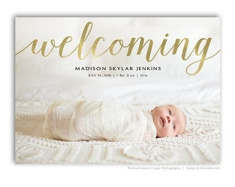 Birth Announcement Card - 7X5 Photo Card Template - BABY Madison - 1464