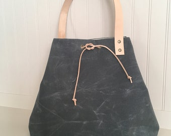 Waxed Canvas Tote With Leather Drawstring Closure