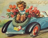 BRITHDAY POST CARD - little girl, blue car, flowers roses, retro postcard, cards postcards, postals cards, congratulation card