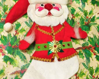 Vintage Christmas Stocking Santa Felt Handmade Wow