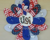 Handmade Flip Flop Wreath Door Wall Decor Stars & Stripes USA Beach Pool Beachy