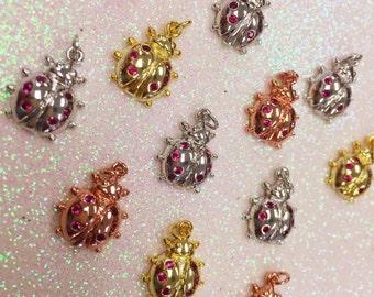 Lady Bug Charm, Lady Bug Pendant, Silver Lady Bug Charm, Gold Plated Lady Bug Charm, Rose Gold Lay Bug Charm, Lady Bug Jewelry, Insect Charm