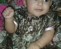 Camo dress for baby girl with pink satin sleeve trim