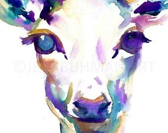 HUGE SALE Deer Watercolor Painting Print, Deer Painting, Print of Deer, Nursery Art, Watercolor Art, Watercolor Print, Deer Print, Deer Wate