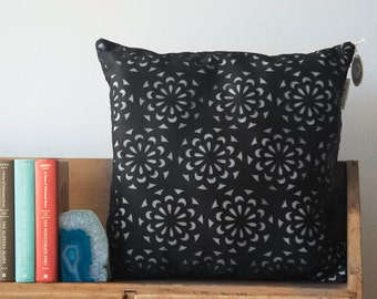 SALE Black Laser cut Neoprene and Mesh Pillow