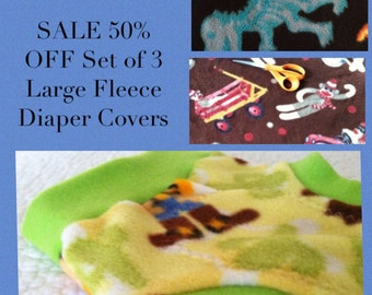 Cloth Diaper Covers Soakers Sale 50% Off Set of 3 Fleece Covers Large L 9 - 18 Months Regular Rise Howdy Sheriff X-Ray Dinos & Sock Monkey