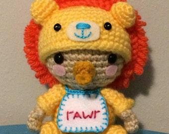 Little Lion Cub Amigurumi, Baby Lion Soft Sculpture Doll