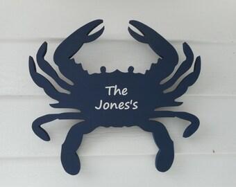 14 inch wooden personalized nautical crab / beach decor / nautical decor