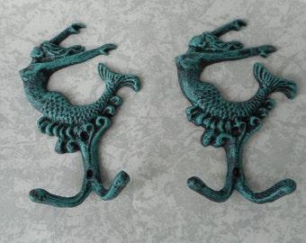 2 cast iron mermaid hooks / beach decor / nautical decor