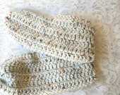 Slippers Crocheted   Soft Warm Houseslippers  Oatmeal Colored Houseshoes