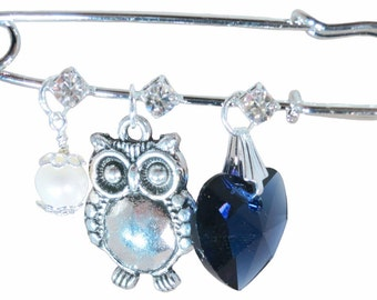 Owl, Denim Heart and White Pearl Bridal Pin