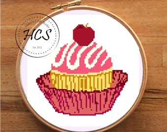 Cupcake easy cross stitich pattern modern cross stitich PDF pattern instant download counted cross stitch chart cupcake cross stitch kitchen