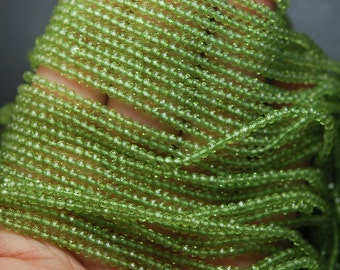 13 Inches Strand, AAA SUPER Cutting, Green Peridot Faceted Rondelles, 3mm