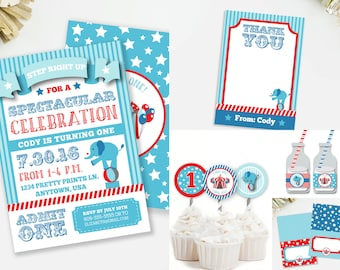 Circus Birthday Party Kit, Carnival Invitation, Elephant Cupcake Toppers, Circus Party Decor, Boy's Elephant Birthday, Red and Blue, #67