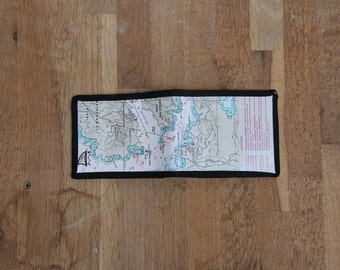 Recycled nautical chart wallet
