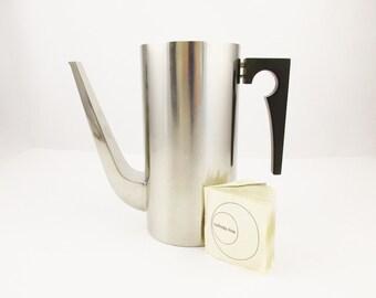 A 'Stelton Cylinda-line' Coffee Carafe - Arne Jacobsen Design - 18/8 Stainless Steel - Danish Modern- Tall, Elegant Design - Beverage Server