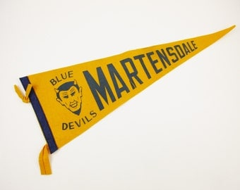 Bright Gold 'Martensdale Blue Devils' Vintage Wool Felt Pennant - Souvenir Pennant  - Gold With Blue Letters -  Catholic High School Pennant