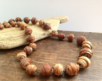 Vintage handmade birch bark necklace Round birch bark beads Vintage jewelry Swedish vintage necklace  Rustic gift for her