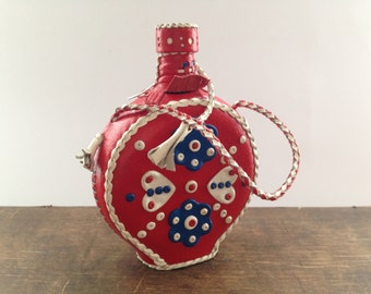 Swedish folk flask Hand stitched leather glass flask Leather covered bottle Scandinavian collectible