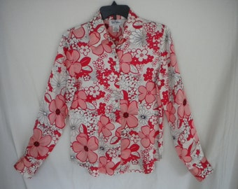 Vintage Bob Mackie Silk Blouse - Coral Pink / Red / Black / White Flowers - Size 6 or 8