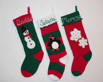 Personalized Christmas Stocking/ Crocheted Personalized Christmas Stockings/ Personalized Stocking/ Christmas Decorations